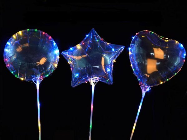 2018 new Style Bobo Balloon With 3M LED Strip Wire and sticks Led Balloons Wedding Decoration Supplies 50 set SN1162