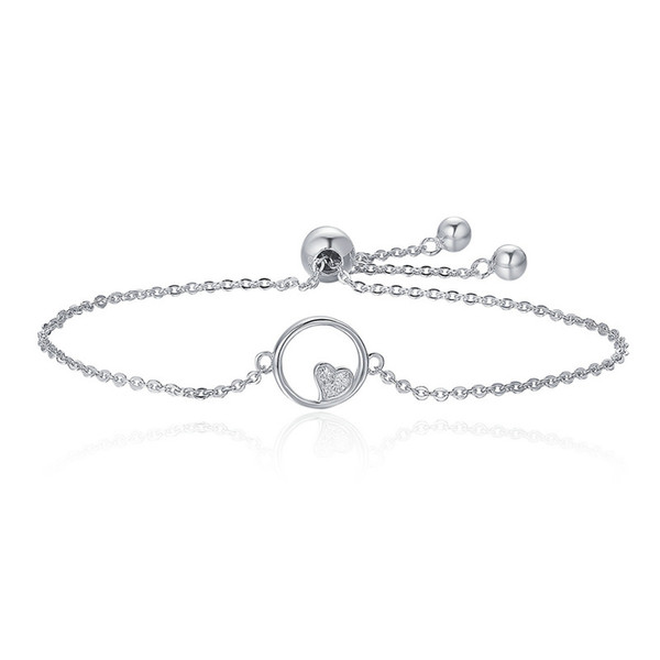Genuine 925 Sterling Silver Sweetheart Heart In Circle Chain Bracelets For Women  Authentic Silver Jewelry SCB020
