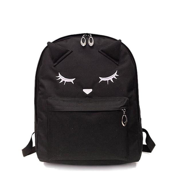Women Black Pink Nylon Cute Kawaii Backpack Travel Laptop Teen Backpacks Rucksack Schoolbag School Bag For Teenage Girls Student