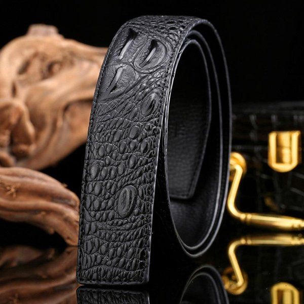 New Style Mens Luxury Belts High Quality Gold Silver Buckle Genuine Leather Belt Girdle Famous Crocodile Leather Waistband Brand Jeans Belts
