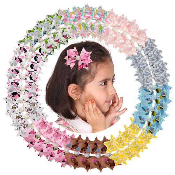 40pcs 3 Kawaii Children Hair Clip Kids Bb Pin Baby Girl Character Ribbon Hair Bow Clips Boutique Hair Accessories