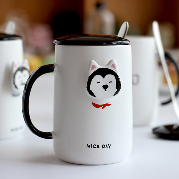 And Office Lovely 3d Mugs 400ml Husky Home Spoons Set Funny Drinkware Coffee With Mug Gift Cover Pet Ceramic Cute Decorative n0wNv8Om