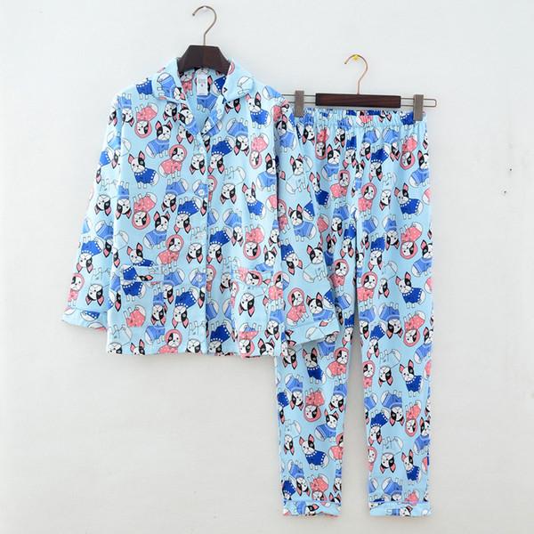 Nuevo 100% Algodón Mujeres Pijamas de Otoño Invierno Suave Cómodo Traje de Casa de Impresión Mujeres Pijama de Algodón Ropa de Dormir M-L Pijamas Mujer