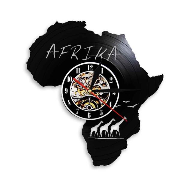 diy подарок для изменения часов 2018 Африка животные Дикая природа дизайн искусство виниловые часы для стены наклейки тема 3D запись виниловые настенные часы висит