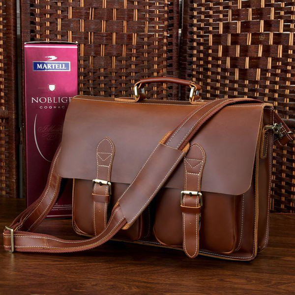 Wholesale-J.M.D New Classic Vintage Leather Handbag Fits 15 Inch Laptop For Business Men Casual And Fashional Breifcase Bag 7105X-1