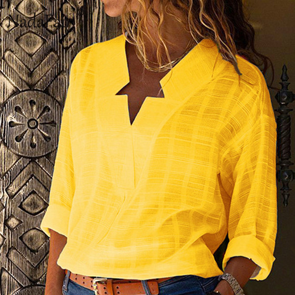 Nadafair Cotton Yellow Loose Blouse Women Long Sleeve Autumn Shirts Ladies Streatwear Winter Baggy Blouse And Tops For Female D18103104