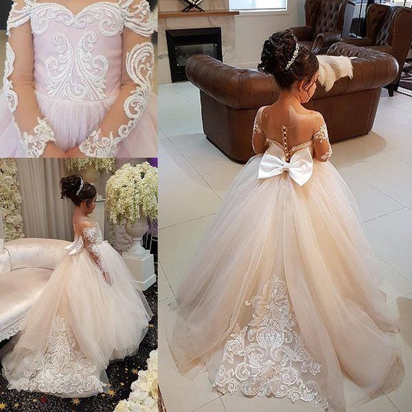 2018 Nuevo Tulle Little Flower Girls vestidos para bodas Long Illusion Sleeves First Communion Dress Girl desfile vestido por encargo