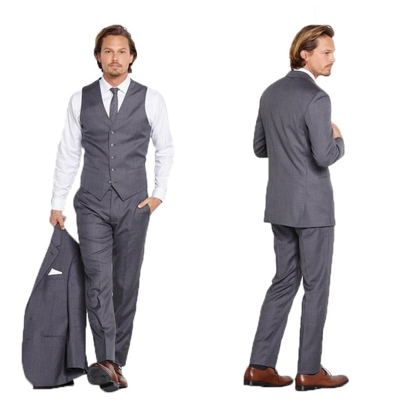Grey Men Suits for Wedding 3 Pieces Slim Fit Groom Tuxedos Best Man Blazers Jacket Pants Vest