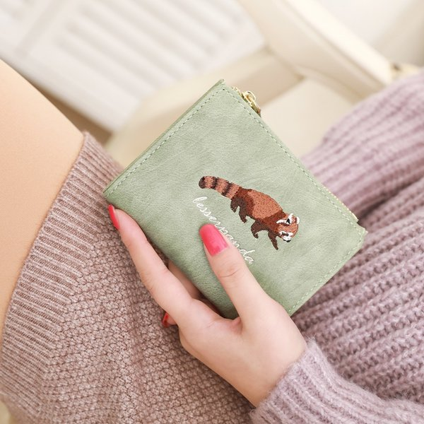 Designer Embroidery Flamingos Purse luxury brand Leather Zipper Animal two fold Short small Wallet Card Holder Coin Women Purses