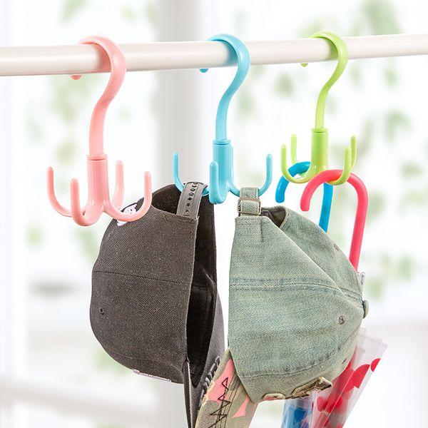 Multi Use Scarves Hangers Belt Bags Shelves Plastic Clothes Hangers Rotatable Macarons Color 4 Hooks Shelf