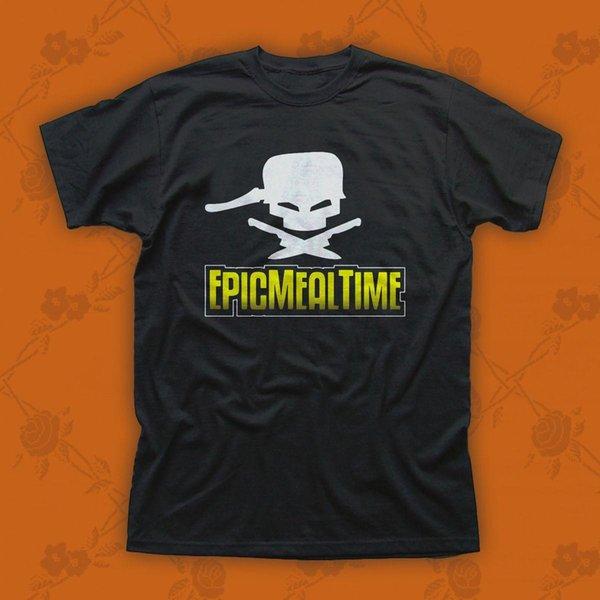 Camiseta de algodón negra para hombre Epic Meal Time Logo tamaño M-3XL
