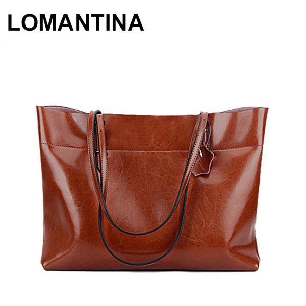 LOMANTINA Horizontal Vertical Women Genuine Leather Handbag Casual Tote Fashion Famous Brand Large Capacity Shoulder Bags