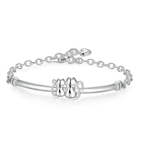 Good A++ !Double cat Bracelet 925 silver bracelet JSPB389; Hot sale girl women sterling silver plated Charm Bracelets