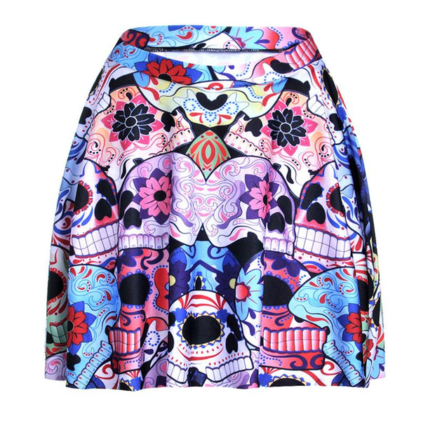 Colorful Flowers Women Sexy Pleated Skirts Tennis Bowling Bust Shorts Skirts New Skull Female Fitness Sport Apparel A Style