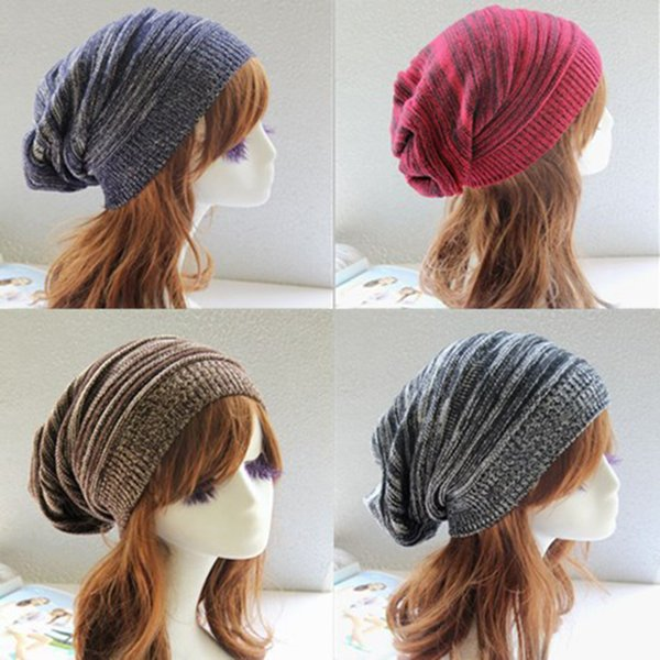 Street Dance Knitted Wool Hat Two-Color Layered Pleated Hat Warm Hooded Acrylic Material Korean Version Of Six-Color Ladies Knit Cap