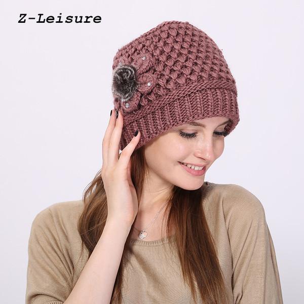 Womens Ladies Knitted Beret Beanie Hat Rabbit Fur Winter Warm Crochet Ski Cap EB