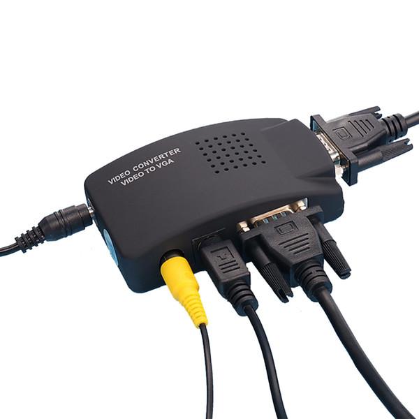горячие продажи видео S-Video VGA к VGA конвертер адаптер кабель CRT / ЖК-монитор распределительная коробка для CCTV камеры DVD DVR ПК