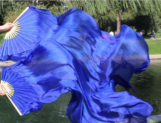 Freies Verschiffen Einfarbig Bauchtanz Silk Fan Schleier Bauchtanz Kostüm Zubehör Tänzer Praxis Requisiten Royal Blue Green Red