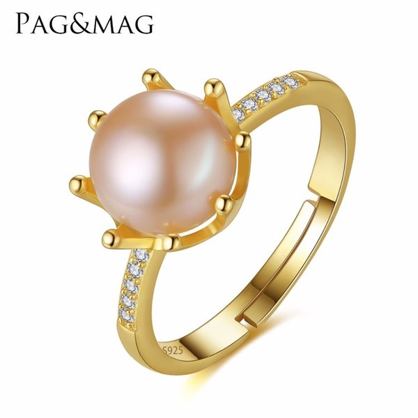 PAG&MAG Brand Crown Shape Eight Paws Natural Pearl 8-8.5mm Sterling Silver Wedding Rings for Women Gift Box Free Wholesale S18101001