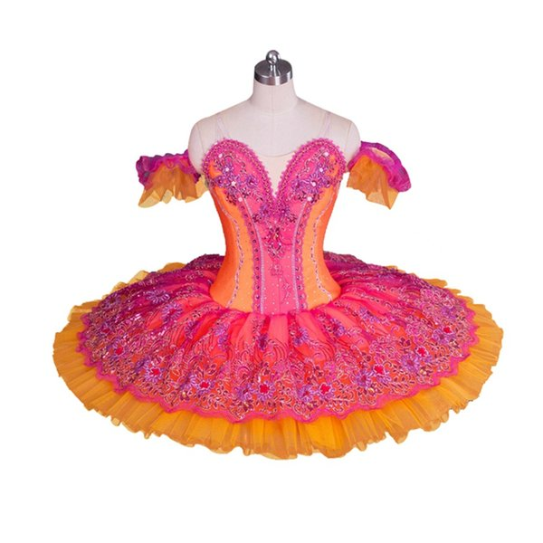 Women Professional Ballet Tutu Costume Red Orange Ballerina Nutcracker Performance Tutus,Adult Classical Ballet Stage Costumes BT9058