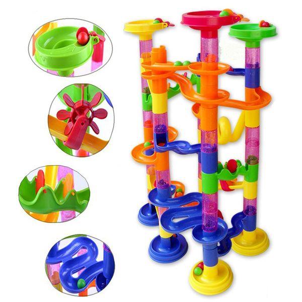 best selling 105pcs DIY Construction Marble Race Game Toy Kids Race Run Maze Balls Track Plastic House Building Blocks Kids Educational Toys