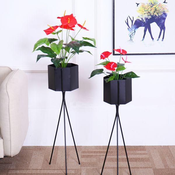 Flores artificiales toque real flores plantas falsas decoración para el hogar Traje de seda en maceta Anthurium ramo diy mesa de oficina decoración Bonsai venta por mayor