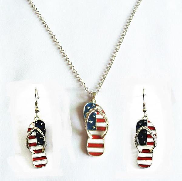 Bandeira americana Chinelos Pequenos Conjuntos de Jóias Estrelas E Listras Sandálias Com Brincos De Cristal Brincos Conjuntos de Colar