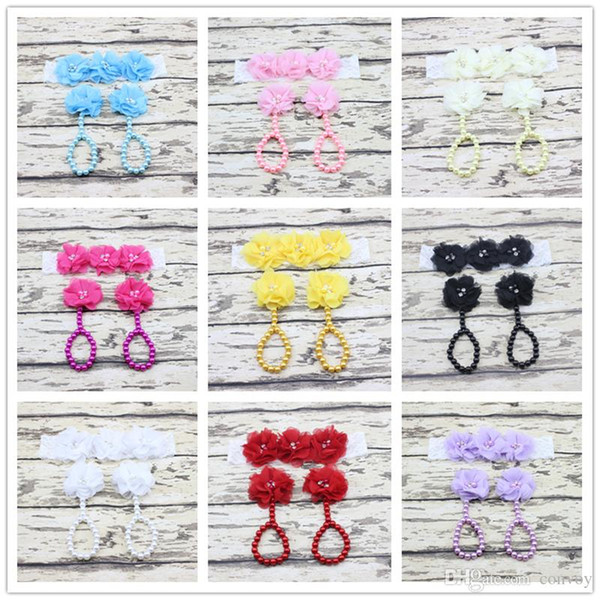 New baby Flower Foot band Simulated Pearl Anklets and headband Set Newborn Baby Girls Toe Rings Barefoot Sandals Photography props KFA37