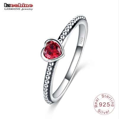 Lzeshine 2016 novo 3 cores 100% 925 anel de prata esterlina amor coração romântico anel de dedo para mulheres jóias de casamento bague SRI0024