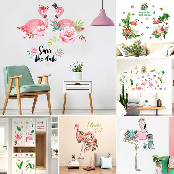 DIY Wall Decals Nature Fauna Flamingo Pink Birds Wall Stickers Removable Child Room Butterfly float Grass Decoration Art Decors Mural