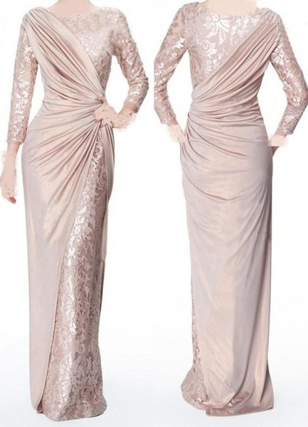 2018 Sparkly Mother Of The Bride Dresses Jewel Neck 3/4 Long Sleeves Lace Ruched Floor Length Sheath Plus Size Party Evening Gowns