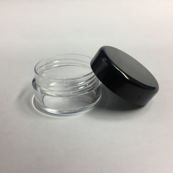 5G 5ML High Quality Empty Clear Container Jar Pot With Black Lids for Powder Makeup Cream Lotion Lip Balm/Gloss Cosmetic Samples 1000pcs/lot