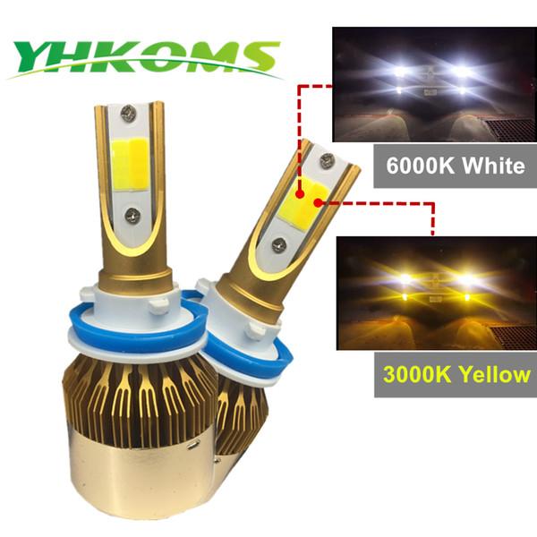 YHKOMS H7 H11 LED Car Headlight 9005 HB3 9006 HB4 H8 9012 H1 H3 880 881 H27 H4 LED Dual Color Headlight Kit 3000K 6000K 9600LM
