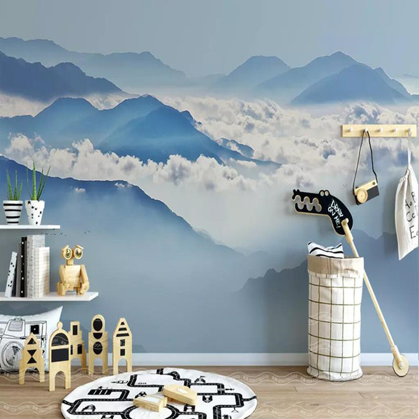 3d TV background wallpaper Chinese ink landscape three-dimensional modern minimalist wallpaper artistic concept living room decoration mural