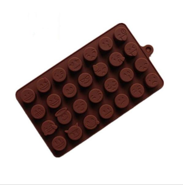 Torta de Emoji Galletas de chocolate Jabón de cubitos de hielo Bandeja de moldes de silicona Molde para hornear Personalidad Expresión Molde de hielo Color chocolate rosado DIY Emoji Ice