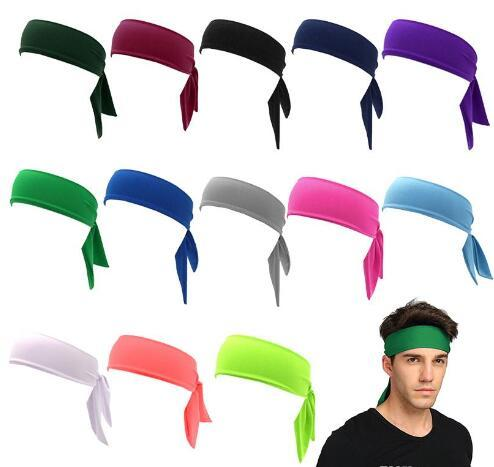 2018 venta al por mayor 100 unids smal new TIE BACK HEADBANDS Sweatband Moisure Wicking entrenamiento ejercicio Sport Band 18 color