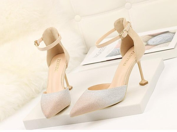 Ladies Sexy Sandals Sequined Cloth stiletto heel Cover Heel Solid Ankle-Wrap Cross-tied Buckle Strap shoes women Dress shoes size 34-39