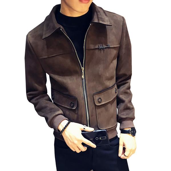 Koreanische Version 2018 Schlanke Des Trends Mode Männliche Volltonfarbe Wildleder Boutique Herbst New Großhandel Jacke Revers Herren Neue dCBxeo