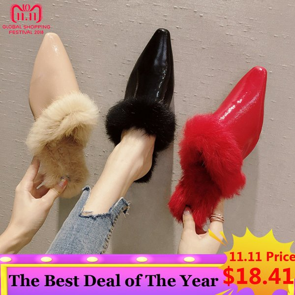 SUOJIALUN 2018 Brand Women Fur Slippers Slip On Flat Mules Shoes Sexy Pointed Toe Plush Warm Fluffy Furry Slides Half S