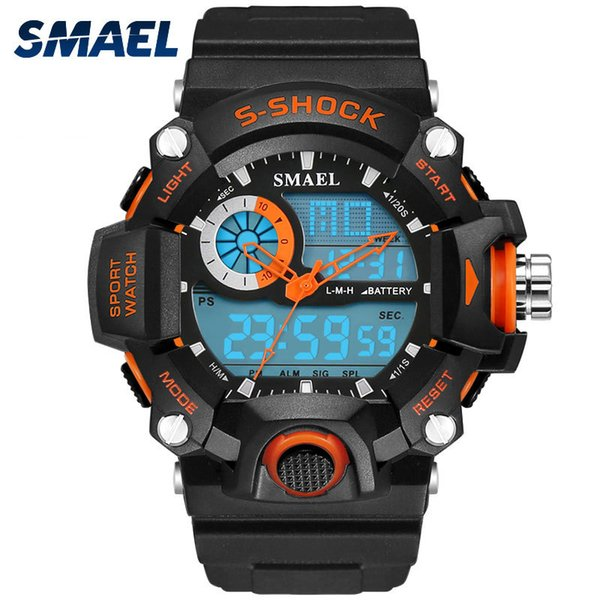 SMAEL Watches Men Military Army Mens Watch Reloj Electronic Led Sport Wristwatch Digital Male Clock 1385 S Shock Sport Watch Men Y1892111