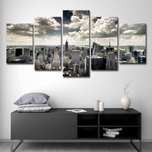5 PCS Canvas Wall Art HD Prints Pictures Living Room 5 Pieces New York City Building Aerial view Paintings Home Decor Poster Framework