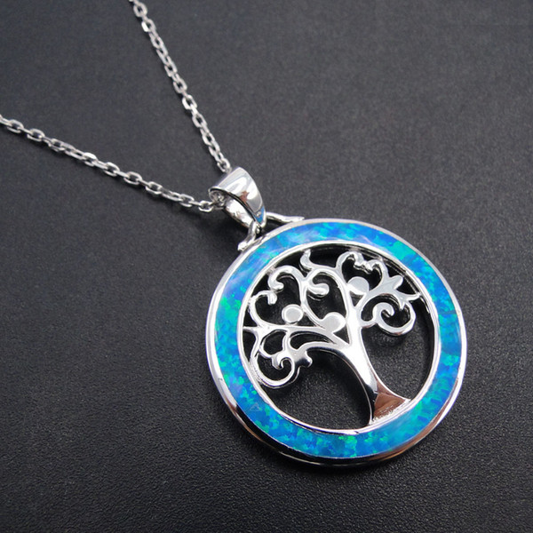 925 Sterling Silver Jewelry Daily Wear Women Tree of Life Pendants Blue Fire Opal Pendant Silver Pendant without Chain for GiftY1883008