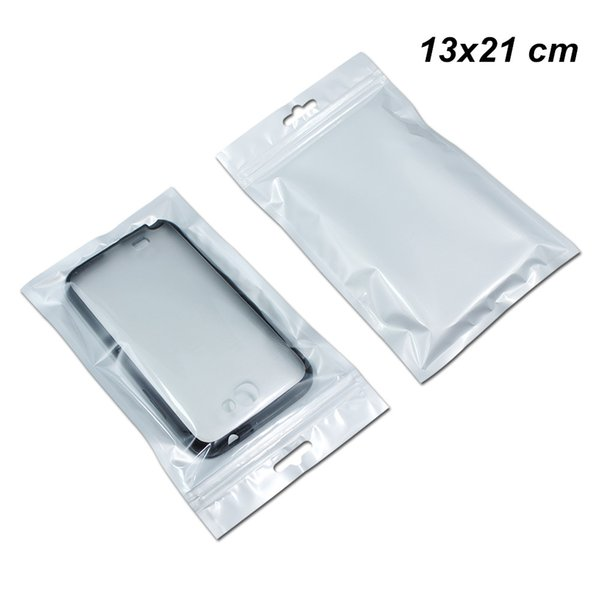13x21 cm Clear Front Resealable Digital Components Accessory Storage Packing Bags Zip Lock Phone Case Cover Packaging Pouch with Hang Hole