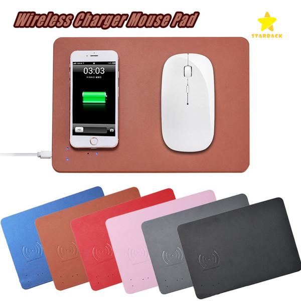Qi Wireless Charger Mouse Pad Matte Multifunktions-PU-Leder-Mauspad für iPhone 8 Plus iPhone X mit Kleinpaket