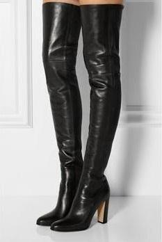 Sexy Black Leather Over The Knee Boots Women Fashion Long Boots Round Toe Chunky Heels Tight High Big Size 42 Fashion Shoe