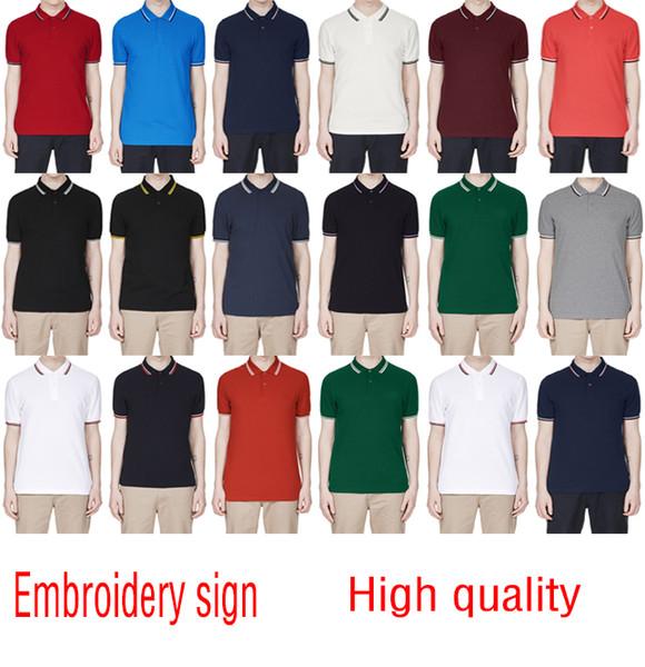 2018 Verkäufe berühmte Business-Männer Shorts Hülse Polo-Shirts Beliebte Baumwolle Stickerei Weizen Polos Custom Designer Fred Hemden gemacht