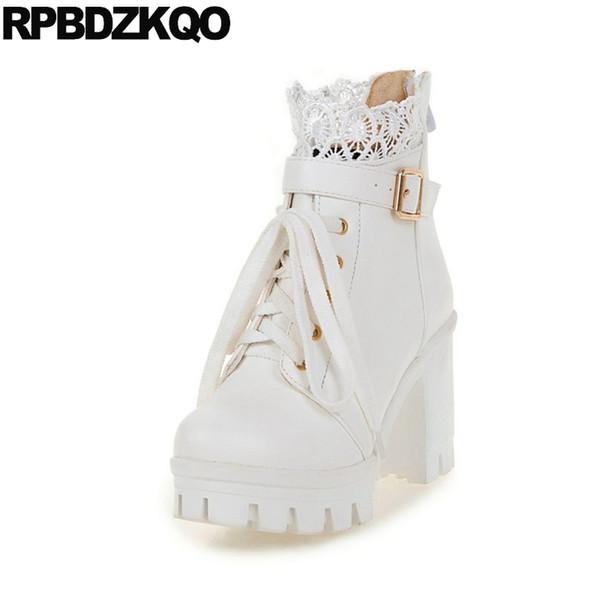 High Heel Runde Spitze Spitze Ankle 2017 Wasserdichte Weiße Plattform Stiefel Günstige Booties Schuhe Kurze Gürtel Up 11 Größe 10 43 Große Kawaii