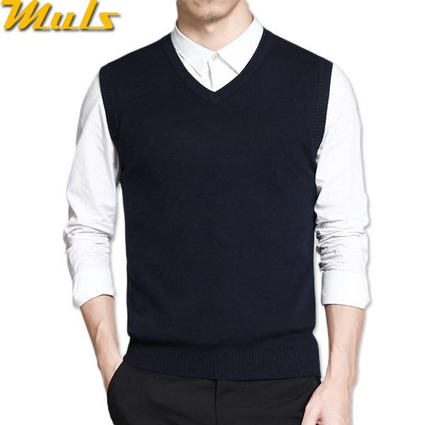 Mens vest sweaters casual style wool knitted business men sleeveless vest blusas 4XL Muls brand Brown Gray Black Navy MS16035 S1015
