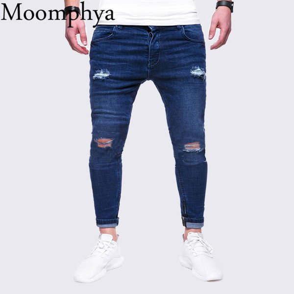 2018 Distressed ripped holes men jeans Slim Fit jeans men Hip hop biker streetwear denim skinny