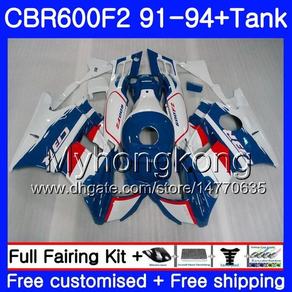 Body For HONDA CBR 600 F2 FS CBR600 F2 1991 1992 1993 1994 1MY.45 CBR600FS CBR 600F2 CBR600RR Blue white CBR600F2 91 92 93 94 Fairing kit